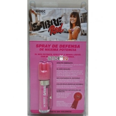 Spray de defensa sabre red chorro balístico homologado 22ml rosa