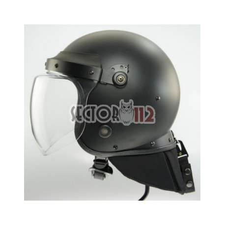 Casco antidisturbios con visera transparente 4mm y nuca plegable 10mm