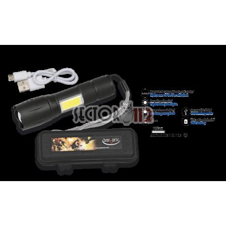 Linterna con zoom, barra led y caja ABS