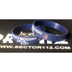 pulsera silicona protección civil azul